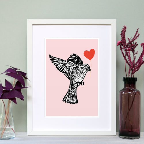 Hedge Sparrow feathered friends print