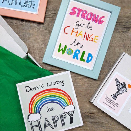 Children's positivity print letterbox gift set