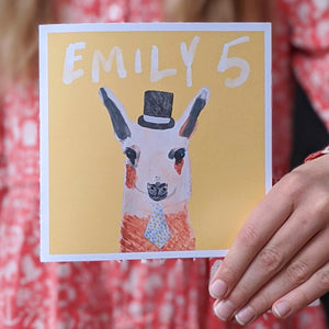 Personalised Mr Llama birthday card