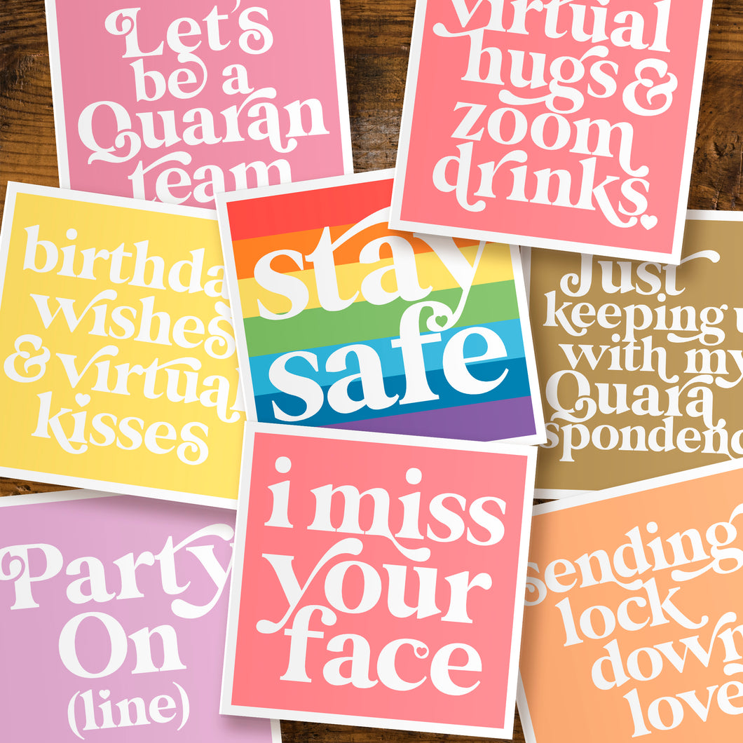 Lockdown living cards - pack of five