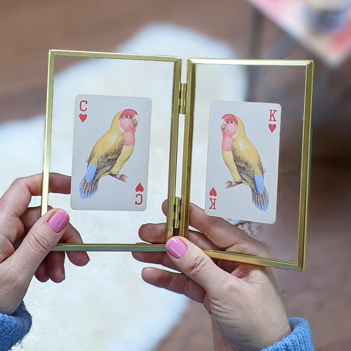 Lovebirds playing cards letterbox gift set
