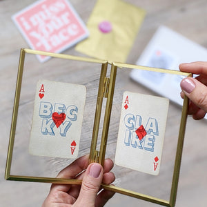 Couple's playing cards letterbox gift set