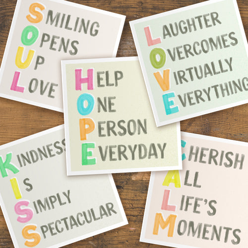 Positive vibes cards - pack of five