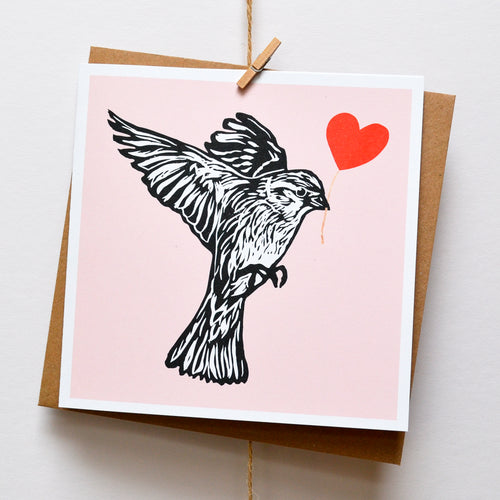 Hedge Sparrow feathered friends card