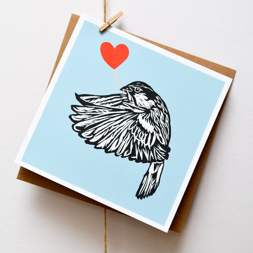 House Sparrow feathered friends card