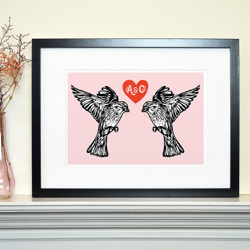 Lovebird sparrows personalised Valentine's print
