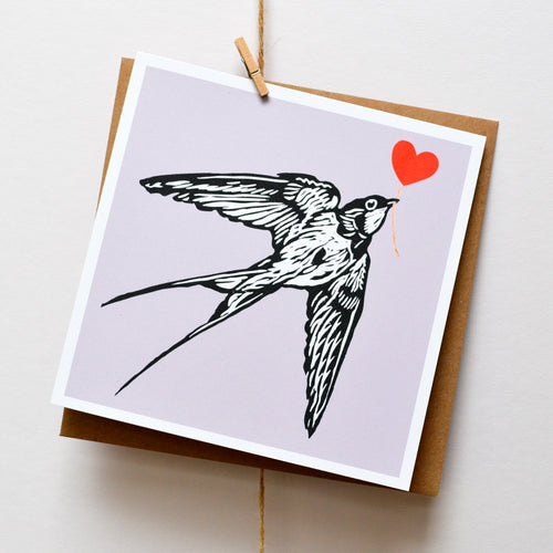 Swallow feathered friends card