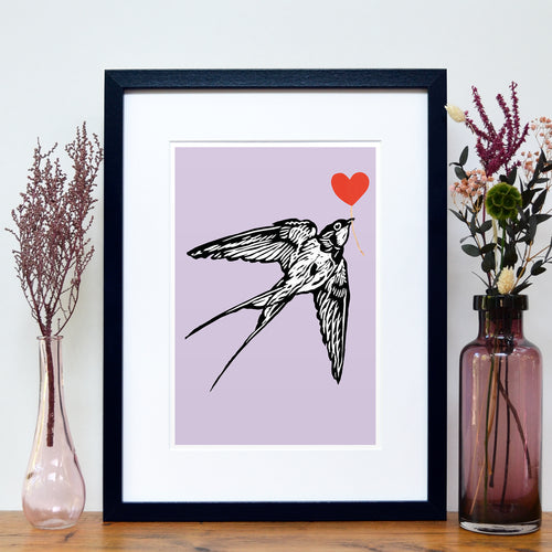 Swallow feathered friends print