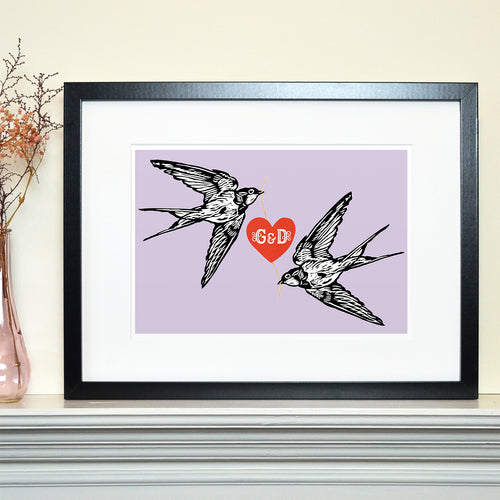 Lovebird swallows personalised Valentine's print