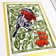 Load image into Gallery viewer, Christmas Robin linocut print (unframed)