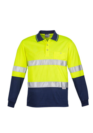 Copy of MENS HI VIS SPLICED POLO - LONG SLEEVE HOOP TAPED (YELLOW)