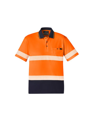 UNISEX HI VIS SEGMENTED S/S POLO - HOOP TAPED (ORANGE)