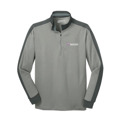 578673 Athletic Grey Heather/ Dark Grey Nike Dri-FIT 1/2-Zip Cover-Up w/Check Point emb left chest
