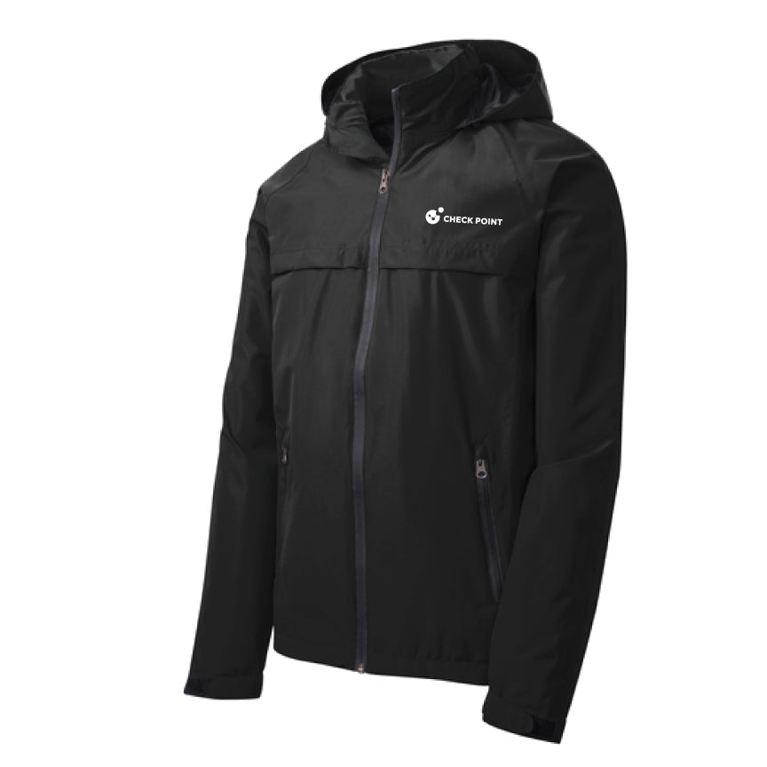 J333 Port Authority BLACK Torrent Waterproof Jacket w/Check Point emb left chest