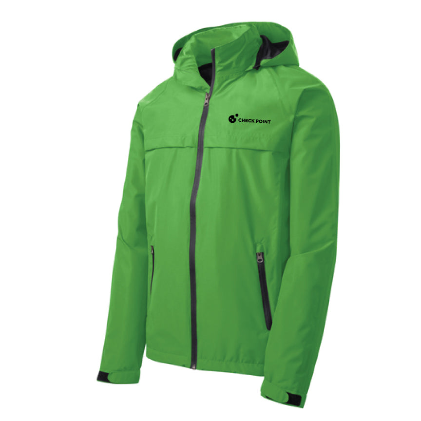 J333 Port Authority GREEN Torrent Waterproof Jacket w/Check Point emb left chest