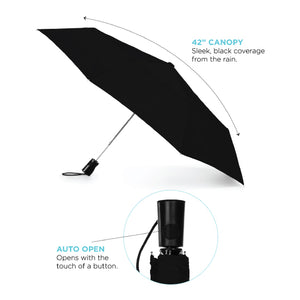 "8850-01 - Black 42"" totes 3-Section Auto Open Umbrella"