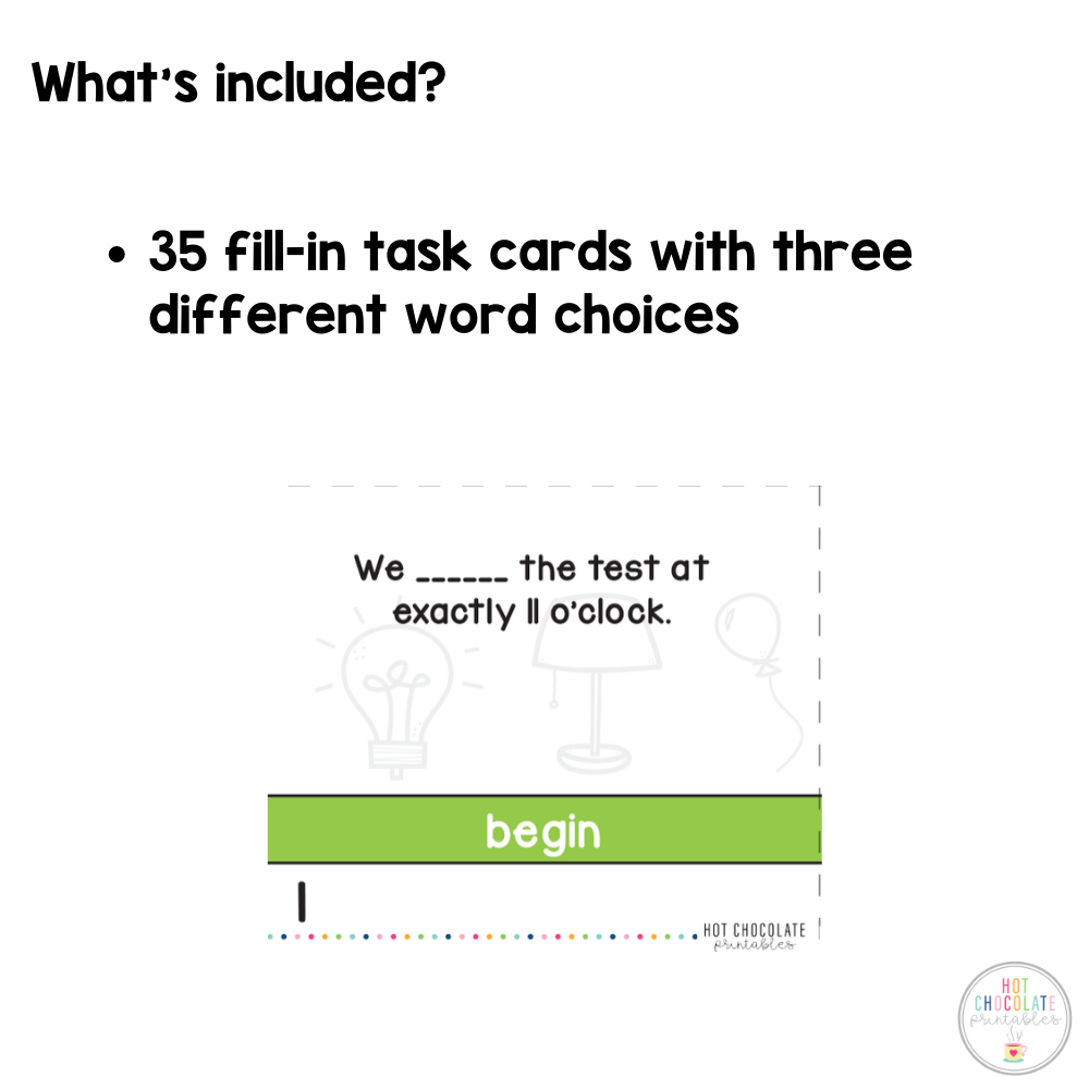 Irregular Verbs - Past Simple Task Cards - Hot Chocolate Education