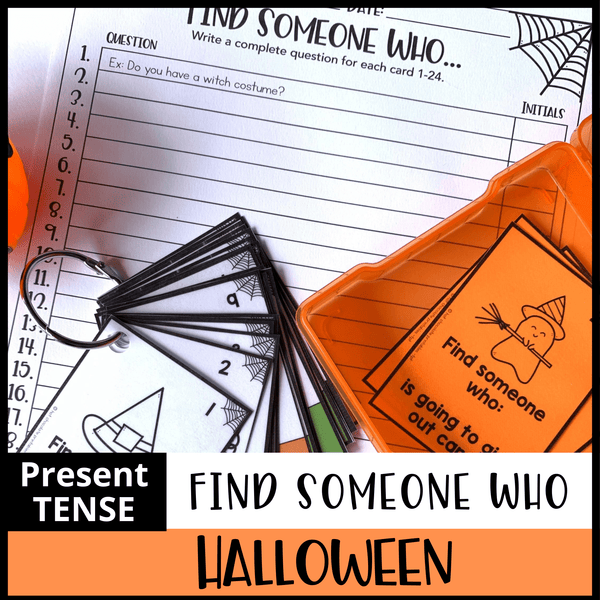 Halloween Themed Speaking Activity - Find Someone Who - Hot Chocolate Education