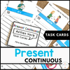 Present Continuous Task Cards : Action Verbs - Positive and Negative Sentences - Hot Chocolate Education