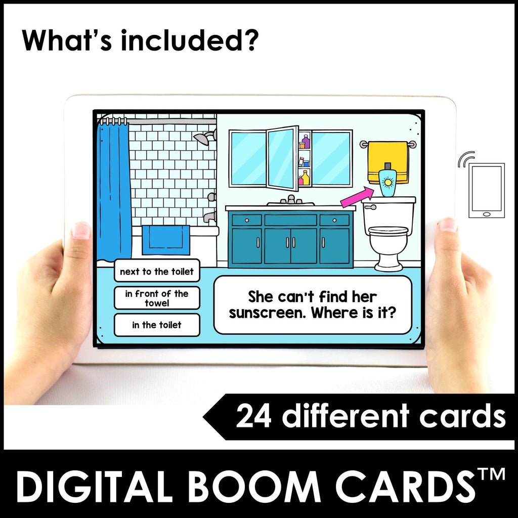 Prepositions of Place Boom Cards™ Digital Task Cards - Hot Chocolate Education