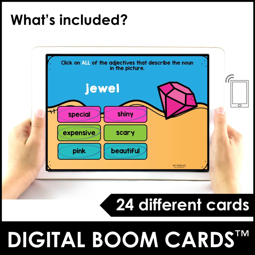 Adjectives: Describe the noun! BOOM CARDS™ – Interactive Digital Task Cards - Hot Chocolate Education