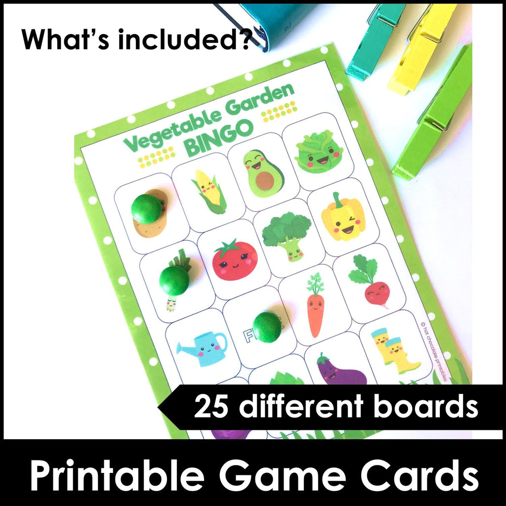 Vegetable Garden Vocabulary Bingo Game + Flashcards - Hot Chocolate Education