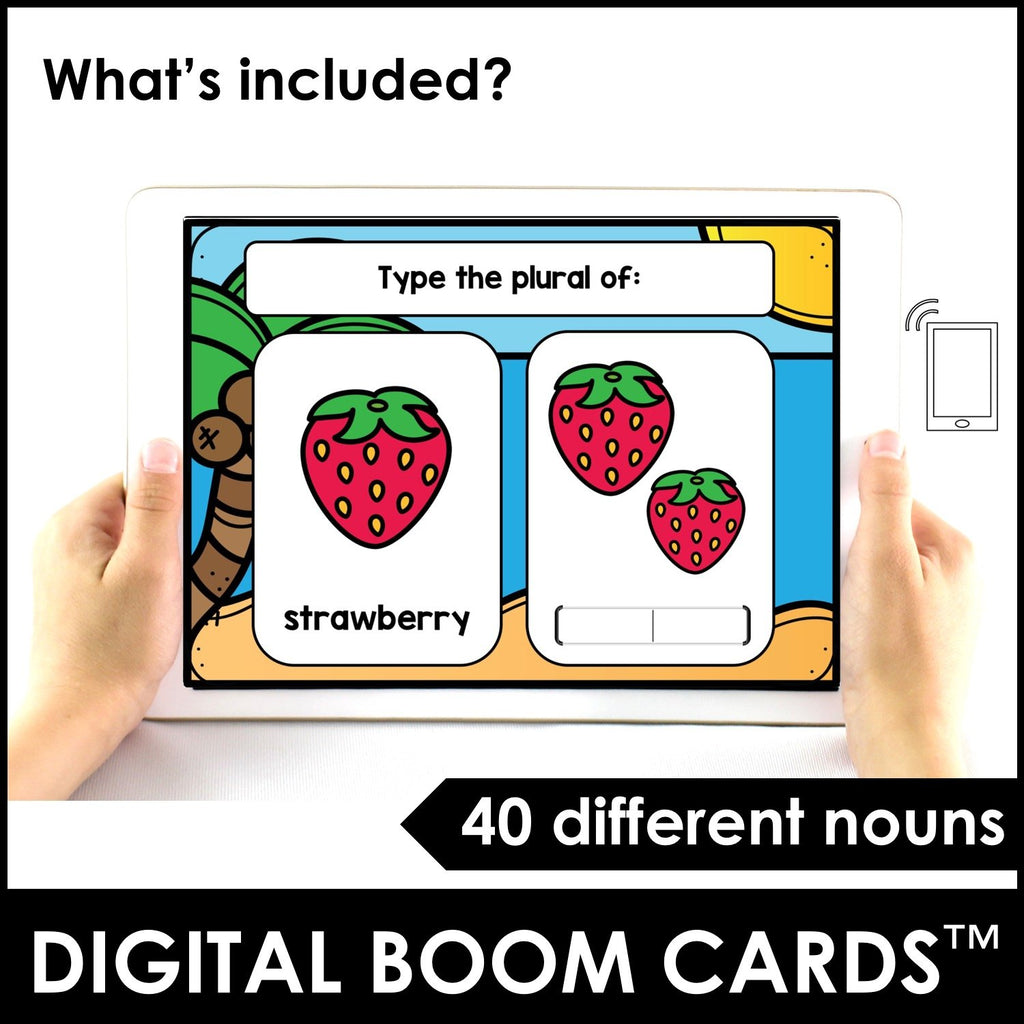 Plural Noun Suffix BOOM CARDS™ - for Regular nouns -s, -es, -ies endings - Hot Chocolate Education