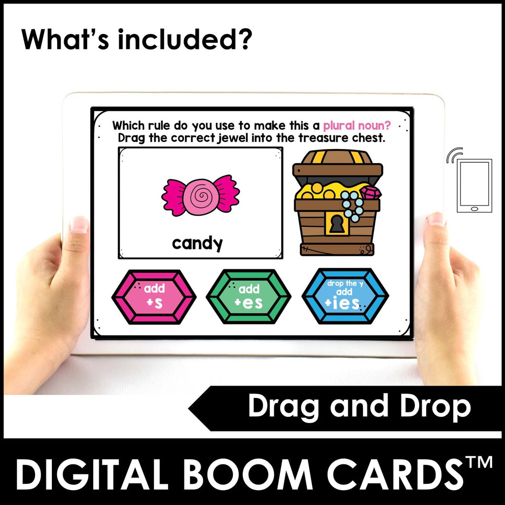 Plural Noun Rules BOOM CARDS™ - for Regular nouns -s, -es, -ies endings - Hot Chocolate Education