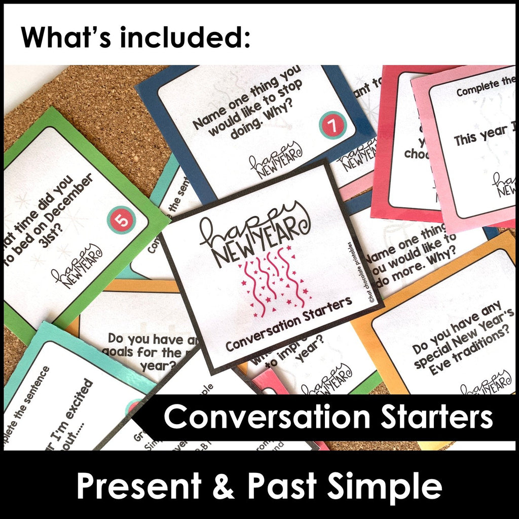 New Year Conversation Questions : Simple Present & Simple Past - Hot Chocolate Education