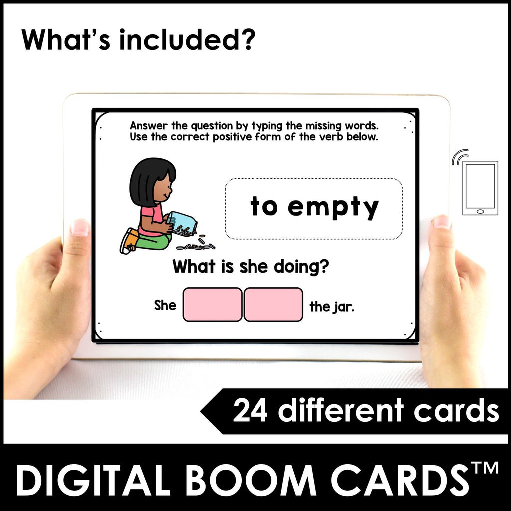 Action Verb BOOM CARDS™ | Present Progressive Tense Digital Task Cards - Hot Chocolate Education