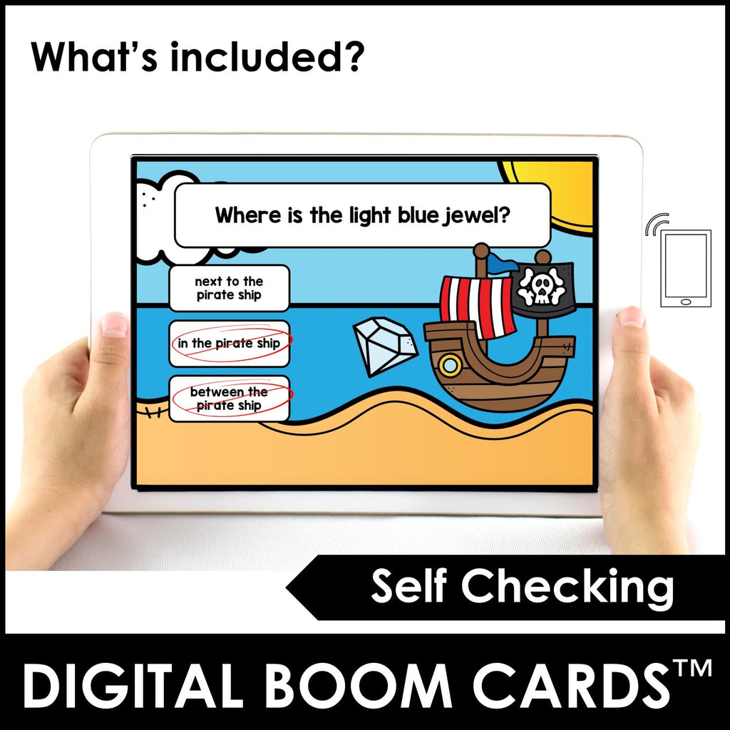 Prepositions of Place Boom Cards™ Pirate Theme Digital Task Cards - Hot Chocolate Education