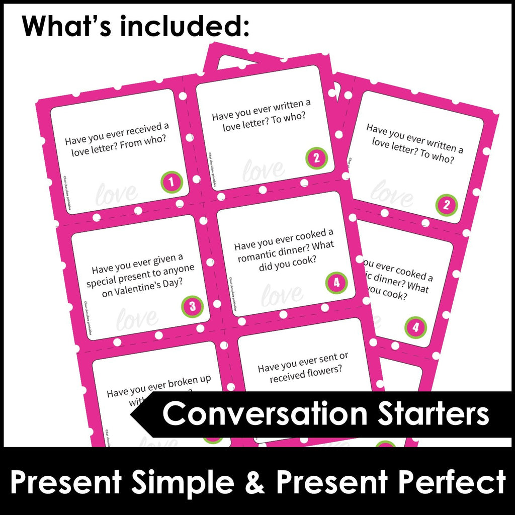 Valentine's Day Conversation Questions - Present Simple & Present Perfect - Hot Chocolate Education