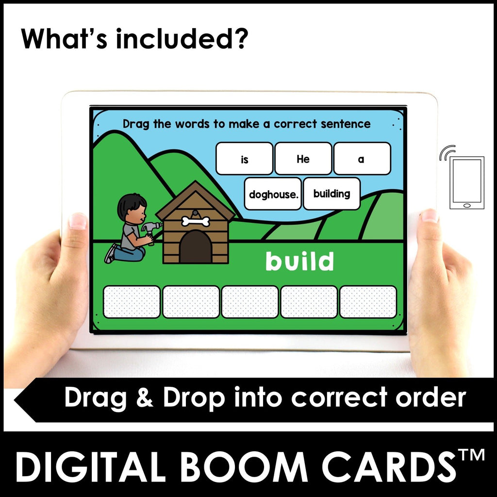 Action Verb BOOM CARDS™ | Present Continuous Sentence Building Activity - Hot Chocolate Education