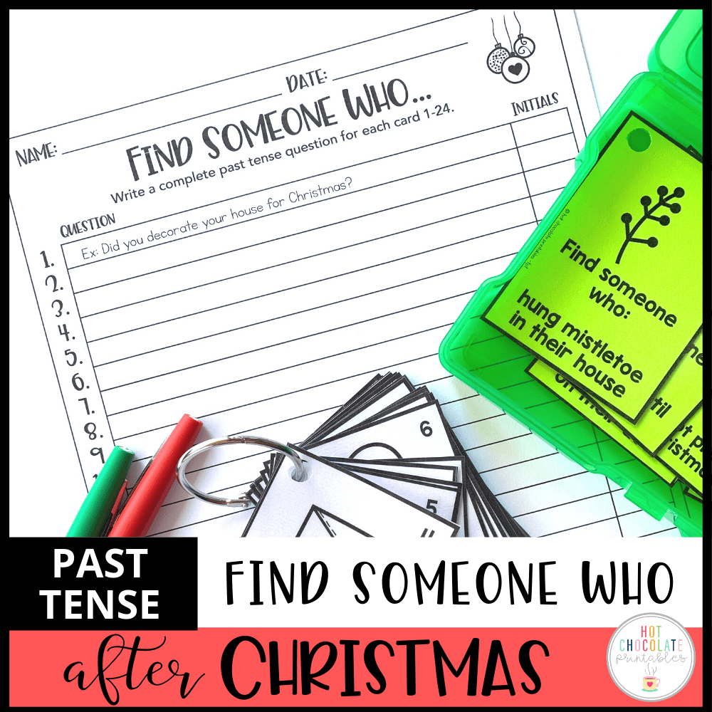 Past Simple: Find Someone Who - Christmas Theme Speaking Activity - Hot Chocolate Education