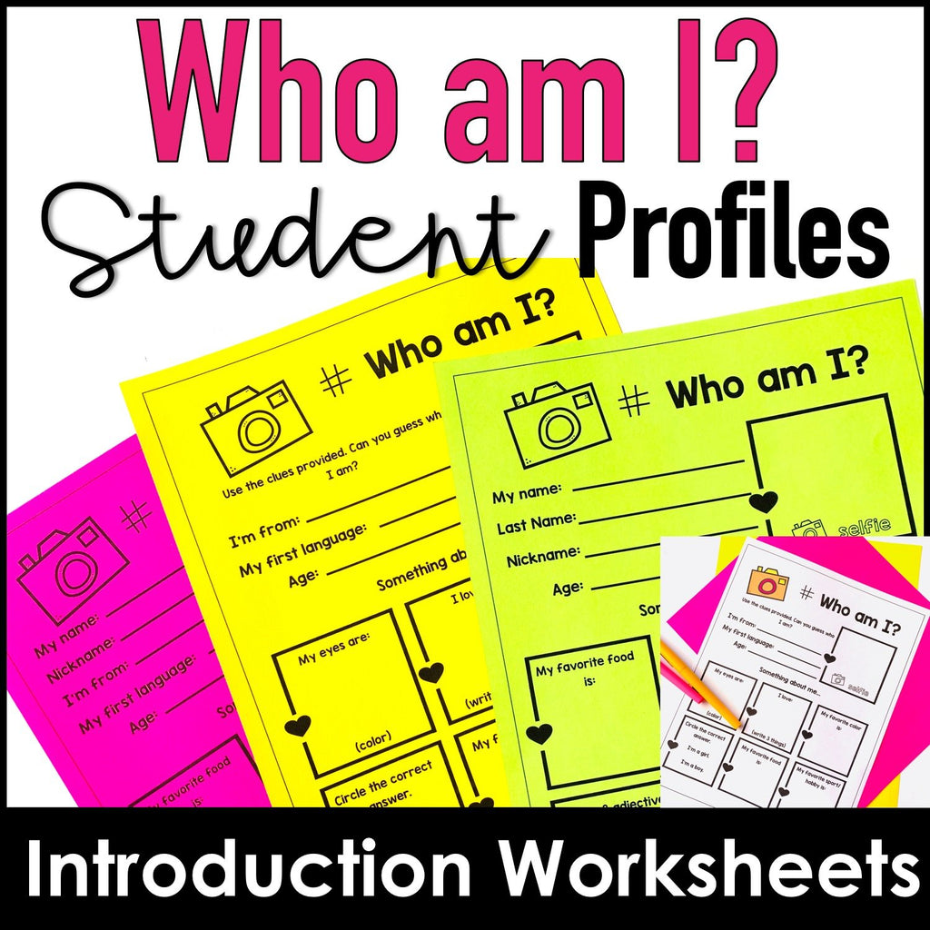 Student Profile Worksheets for Back to School - Visual Introduction Activity - Hot Chocolate Education