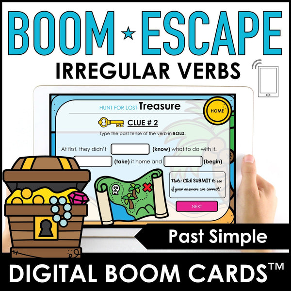 Digital Escape: Past Tense Irregular Verb BOOM CARDS™ – Treasure Hunt - Hot Chocolate Education