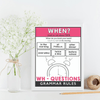 ESL Grammar Posters: Wh-Questions -What, When, Where, Why, Who, How, How Often - Hot Chocolate Education