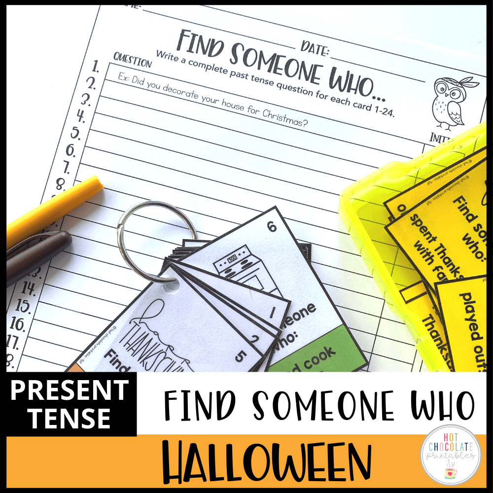 BUNDLE: Find Someone Who- Holidays: Speaking Activity and Question Prompt Cards - Hot Chocolate Education