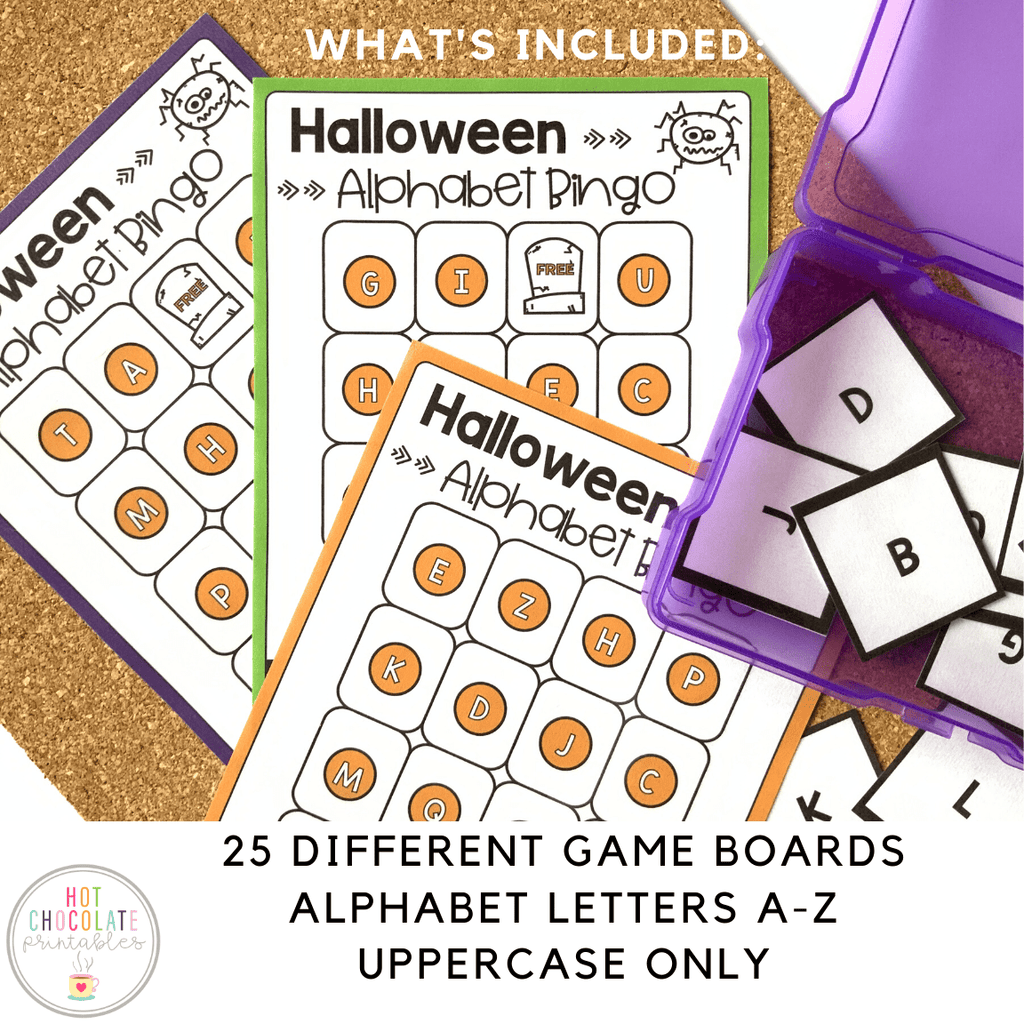 Halloween Alphabet Bingo Game : Uppercase Letters A-Z - Hot Chocolate Education