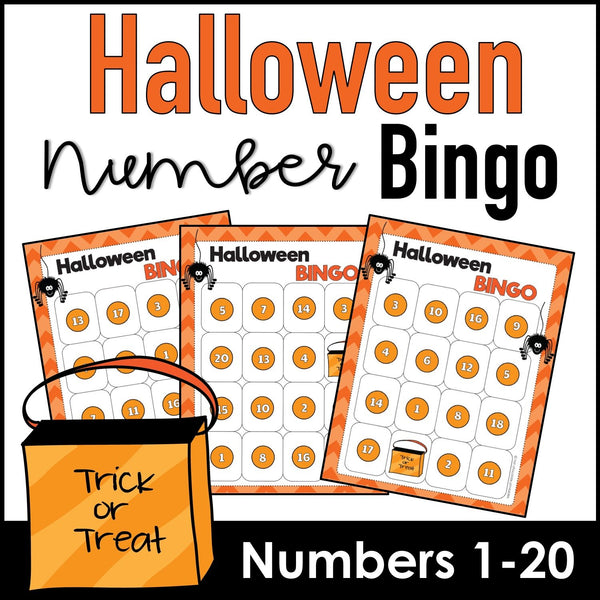 Halloween Bingo Game : Number Recognition from 1 to 20 - Hot Chocolate Education