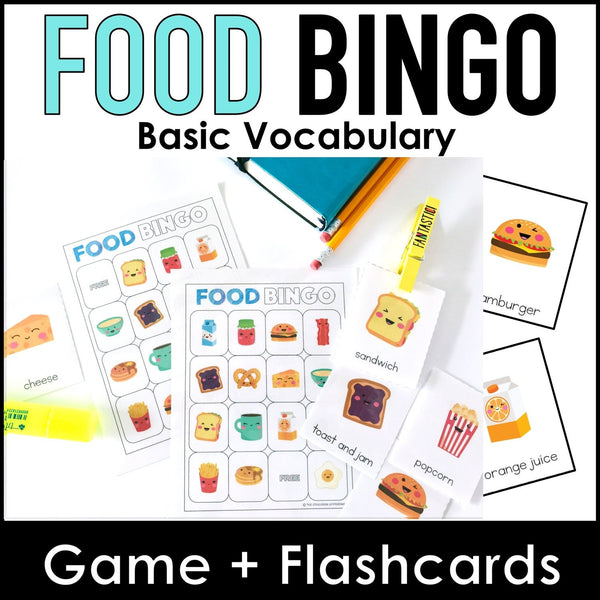 Food and Drink Bingo Game + Flashcards - Hot Chocolate Education
