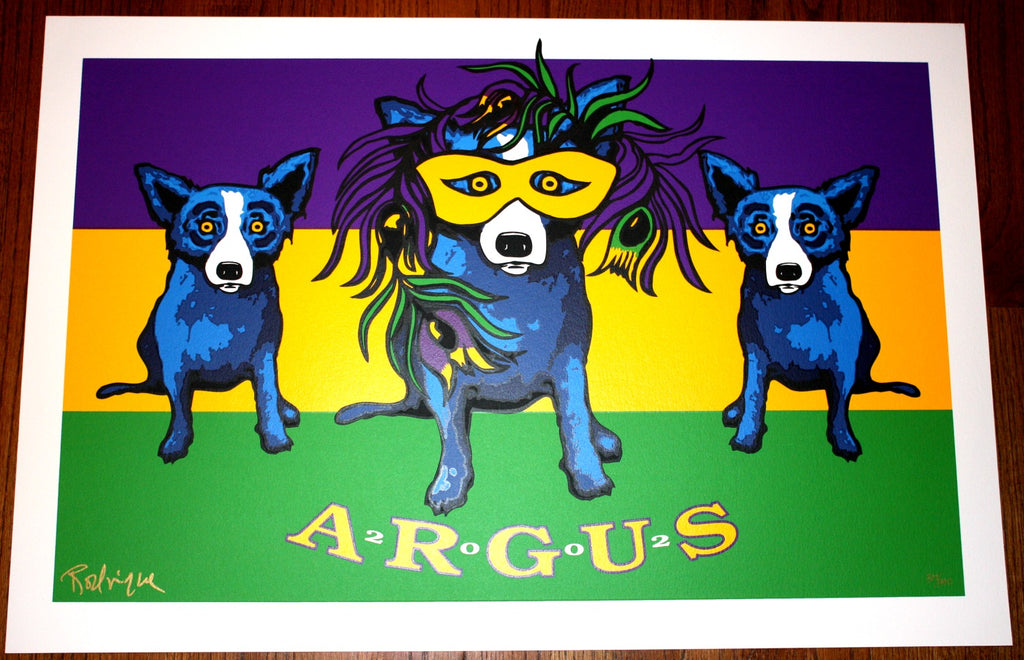 """2002 Argus"" Blue Dog Mardi Gras Print by George Rodrigue - Signed"