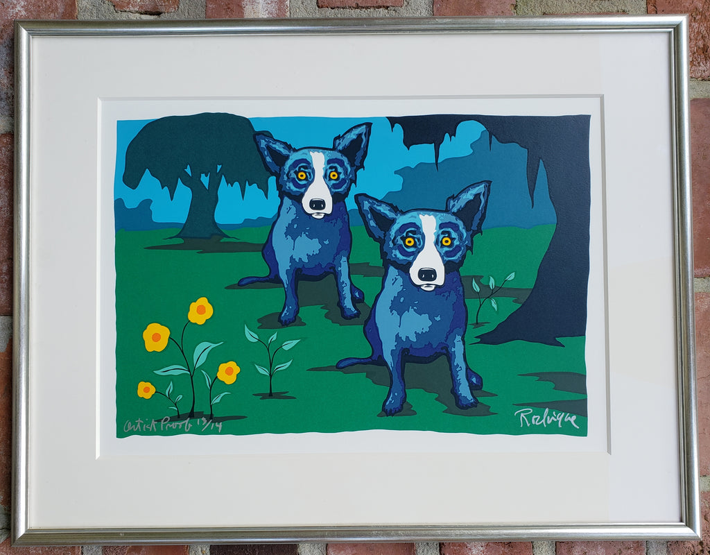 """I Married Someone Like Me"" Blue Dog Original Silkscreen Print by George Rodrigue"