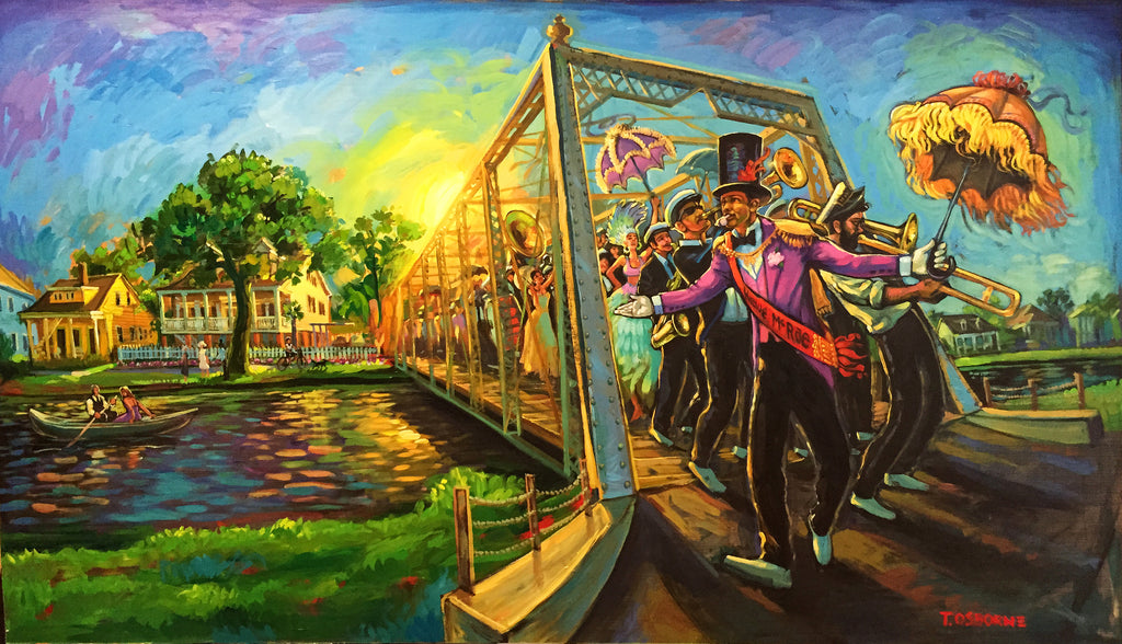 """Bayou St. John Second Liners"" New Orleans Art by Terrance Osborne - Giclee"