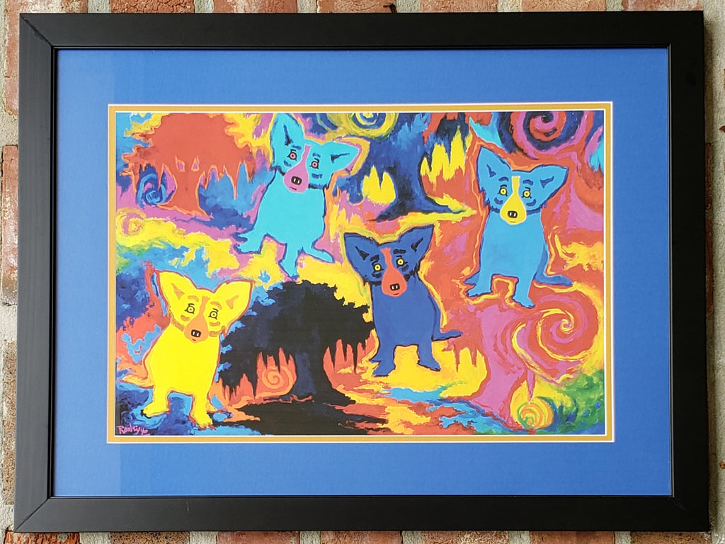 """Four Oaks for Four Dogs"" Blue Dog Poster by George Rodrigue"