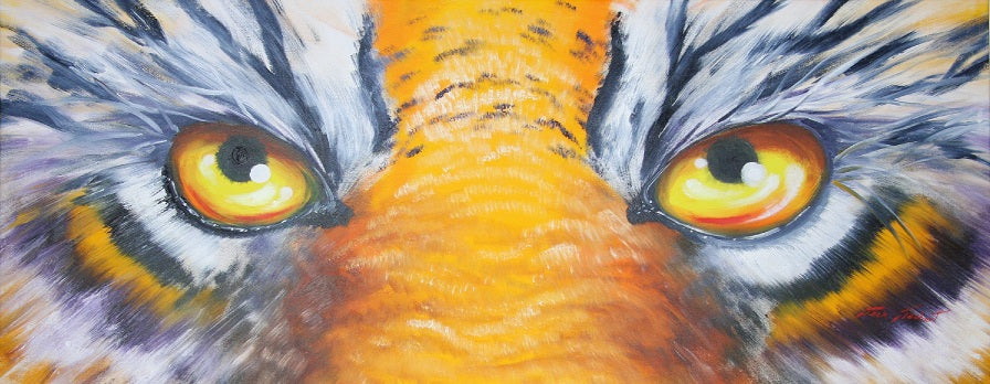 ORIGINAL LSU Tiger Eyes Painting by Jack Jaubert
