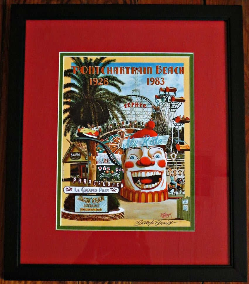 """Pontchartrain Beach"" New Orleans Print Giclee by Brad Thompson - Framed"