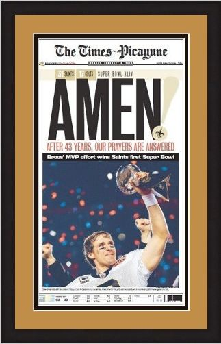 New Orleans Saints Times Picayune Front Page Framed - Super Bowl Champions