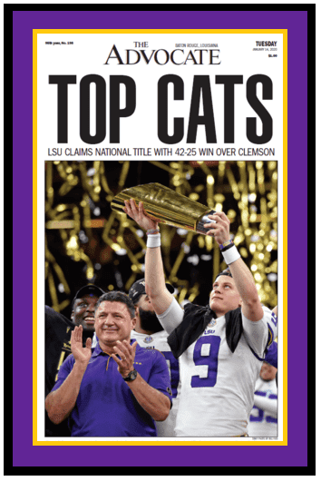 "The Advocate Front Page - LSU Tigers National Champions - ""Top Cats"" - Framed"