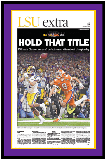 "The Advocate Front Page - LSU Tigers National Champions - ""Hold That Title"" - Framed"